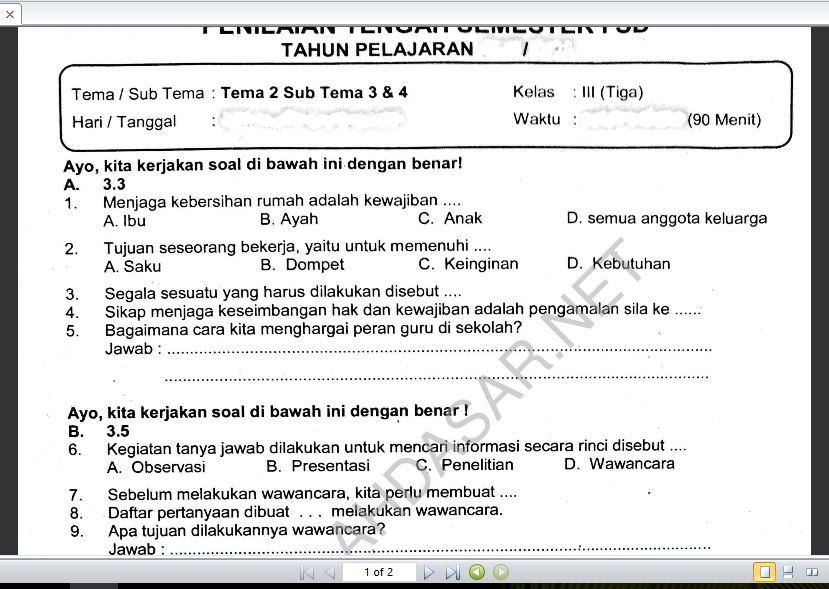 Soal Ulangan Kelas 3 K 13 Tema 2 Subtema 3 Dan 4 Sekolahdasar Net