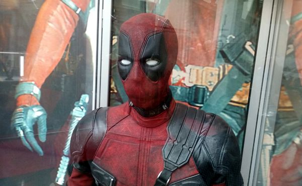 The DEADPOOL costume on display at ArcLight Cinemas in Hollywood...on May 29, 2018.