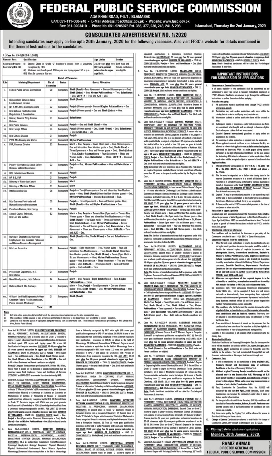 Jobs in Federal Public Service Commission Latest Vacancies 2020