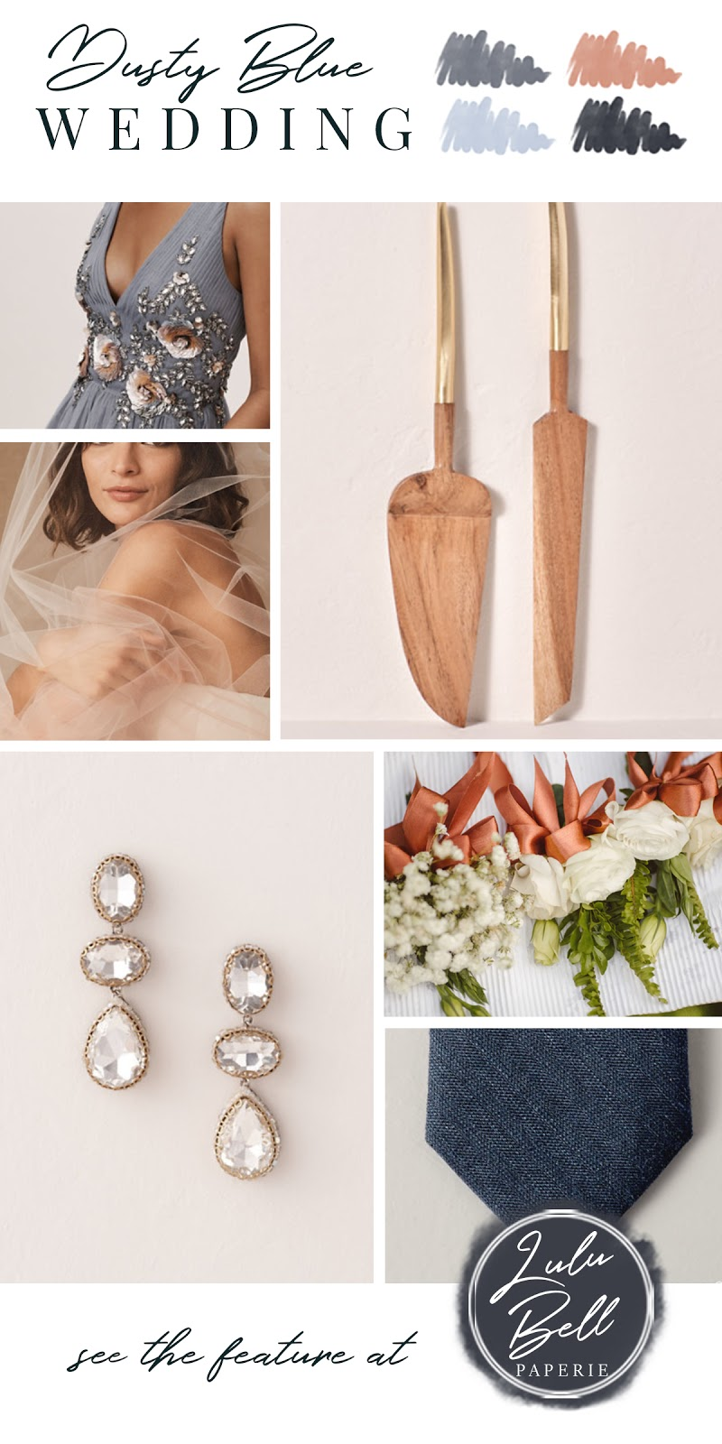 Dusty Blue Rose Gold and Navy Wedding Color Palette Inspiration - Bridesmaid Gown, Cake Server, Wedding Veil, Crystal Earrings, Floral Bouquets, and Neck Ties