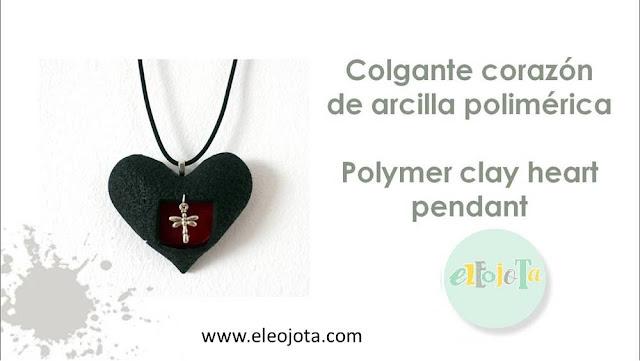 colgante corazon arcilla polimerica