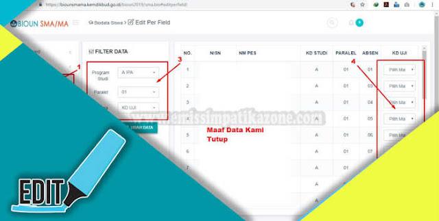 Salah satu hal yang perlu dilakukan dalam pendataan peserta Ujian Nasional pada BIOUN ada Cara Edit Mapel Di BIOUN SMA / MA / SMK Terbaru