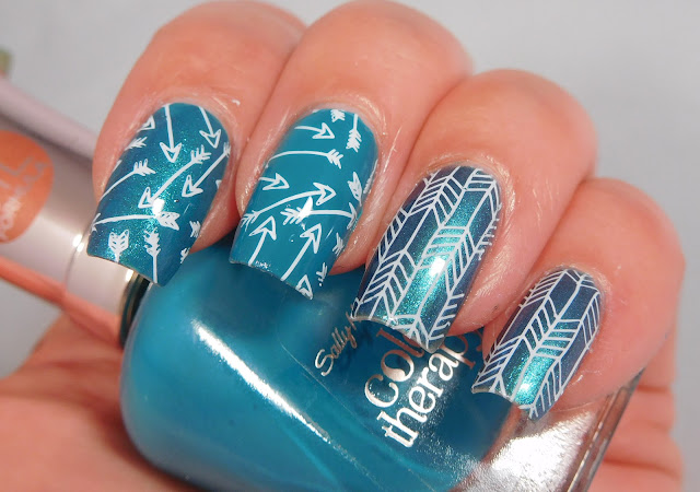 Sally Hansen Teal Good & Reflection Pool, stamped with UCB 18-02 and Messy Mansion Chalk