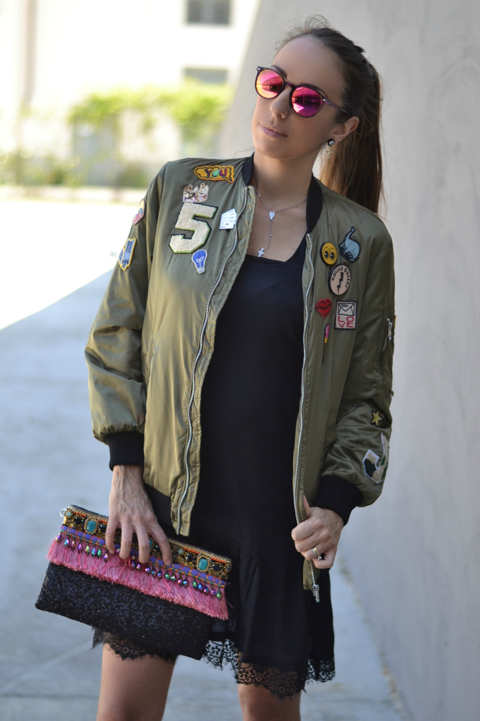 bomber con patches