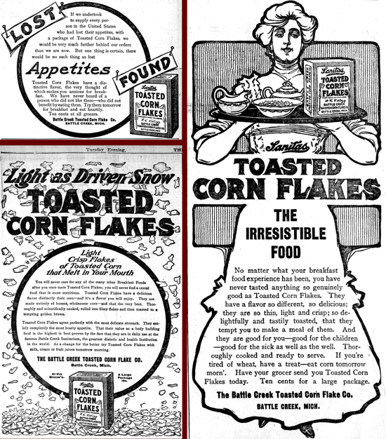 Sanitas Toasted Corn Flakes, advertising Oct. 11-16-23, 1906