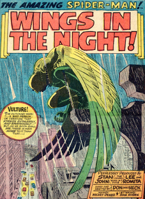 Amazing Spider-Man #63, don heck,. john romita, splash page, the vulture perches on a ledge as the rain pours down, it is night time and he is brooding, an ominous presence