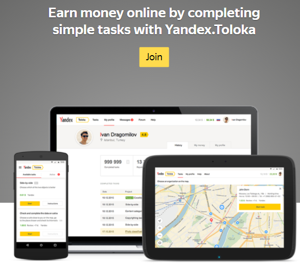 Earn with Yandex a side income without any experience