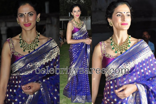 Shilpa Reddy Royal Blue Silk Saree