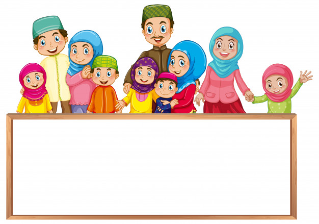 Board template with muslim family in colorful clothes Free Vector