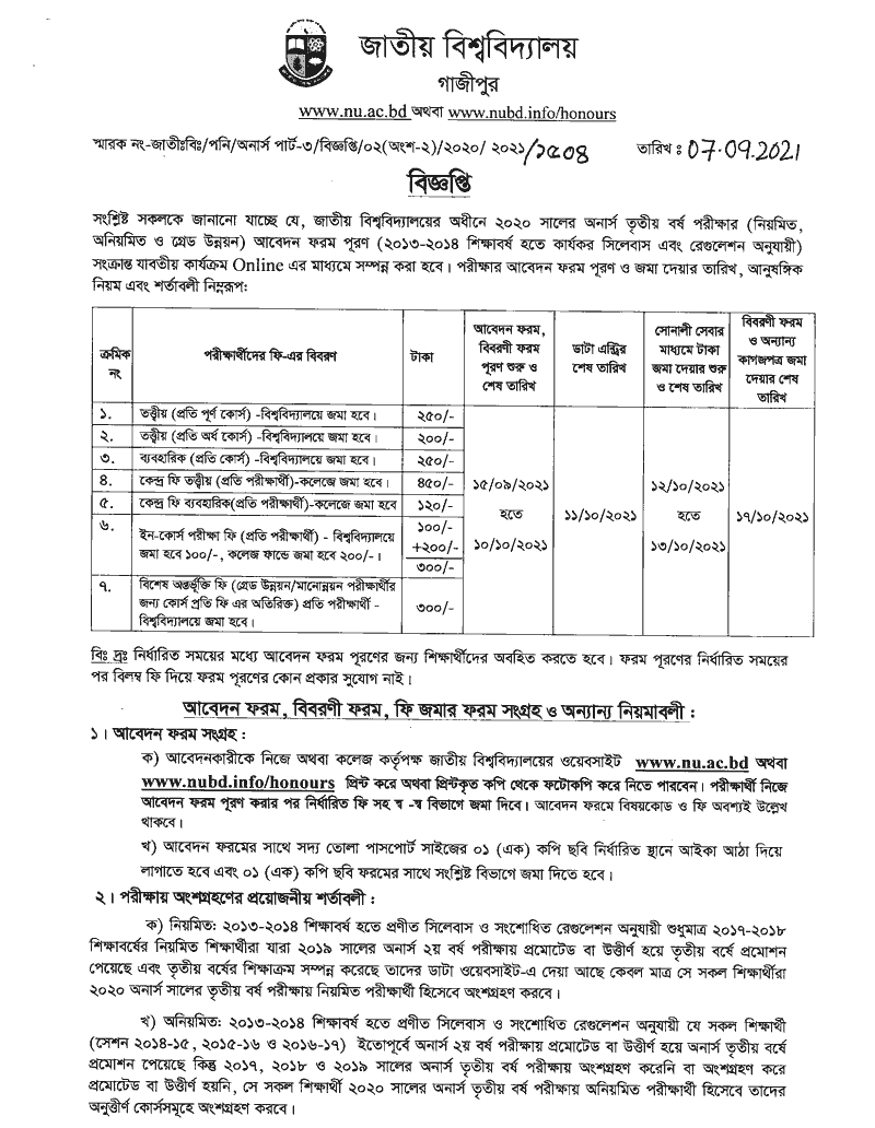 Honours 3rd year exam form fill up notice 2021