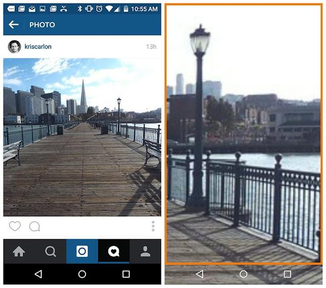 Instagram memperbesar foto