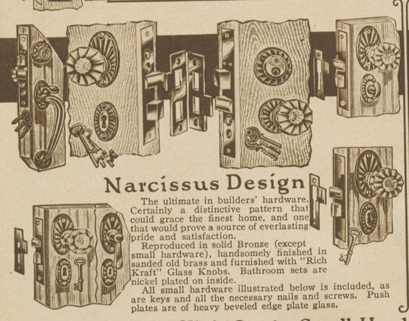 1928 catalog image of Sears Narcissus door handle hardware