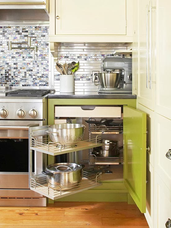 corner pullout unit stores large cookware avoids wasting space smart storage solutions small kitchen design
