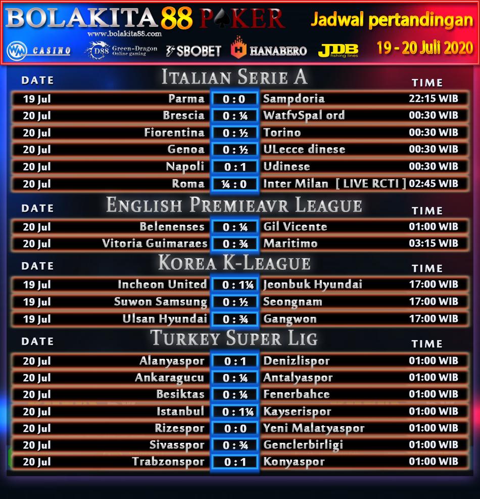 Jadwal Pertandingan Sepak Bola 19 - 20 Juli 2020   BolaKita 88