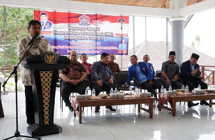 Hermansyah Hamidi Asinten Ekobang Buka Resmi Muscab Ke -6 HNSI,Dan Mengukuhkan Pengurus HNSI Masa Bakti 2019- 2024  Di Aula Sebuku Rumdin Bup Lamsel.