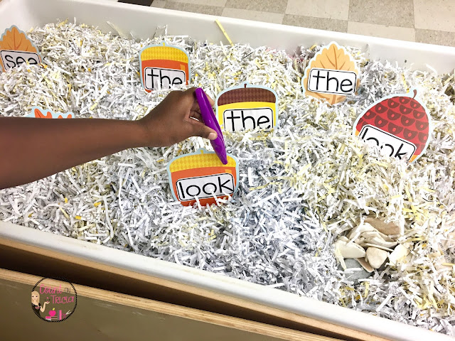 Carson Dellosa Leaves and Acorn Cut-outs for themed Literacy Centers and Math Stations.