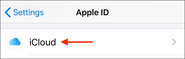 حدد iCloud من ملف التعريف