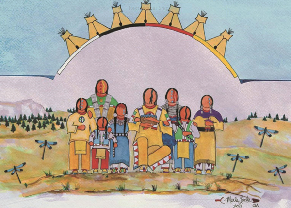 Oceti Sakowin, Seven Council Fires, art by Merle Locke, 2011.