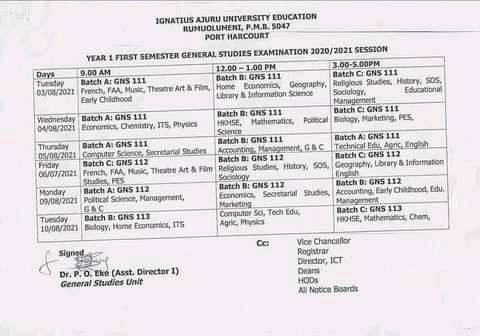 IAUE GNS Exam Timetable for 1st Semester 2020/2021