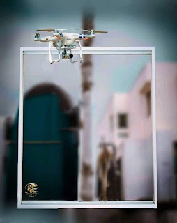 Photo Frame With Drone Free Stock Image