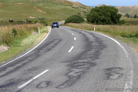 Recent road works on Waimarama Rd, between Ocean Beach Rd turnoff and Waimarama. photograph
