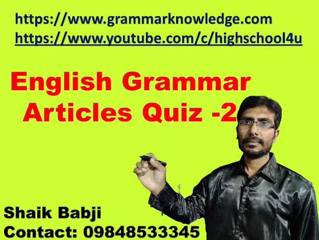 English Grammar Articles Quiz - 2