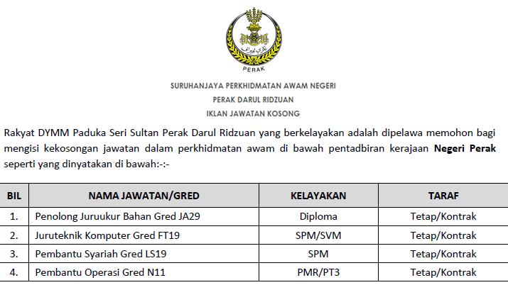 Jawatan Kosong Di Suruhanjaya Perkhidmatan Awam Negeri Perak Tarikh Tutup 14 Februari 2020 Jawatan Kosong Kerajaan 2020 Terkini