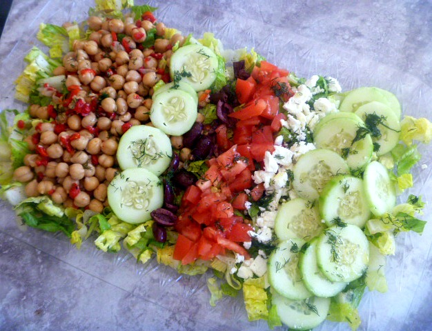 Greek Cobb Salad:  Romaine salad loaded with crisp summer veggies, roasted red peppers, chickpeas, Kalamata olives and tangy feta cheese. Oh what a salad! - Slice of Southern