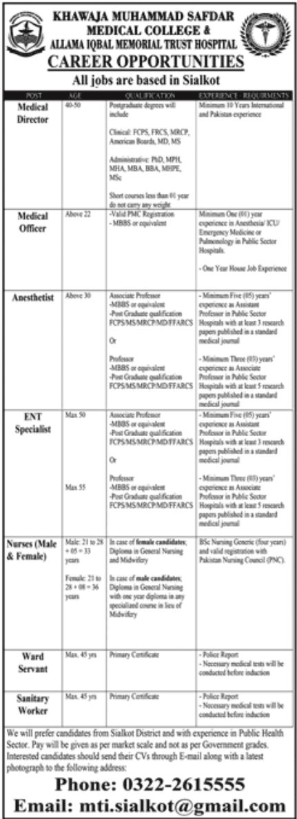 private,khwaja muhammad safdar medical college sialkot,medical director, medical officer, anesthetist, ent specialist, nurse, ward servant, sanitary worker,latest jobs,last date,requirements,application form,how to apply, jobs 2021,