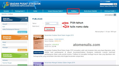 Cara Download Data Statistik di BPS Kepulauan Sula