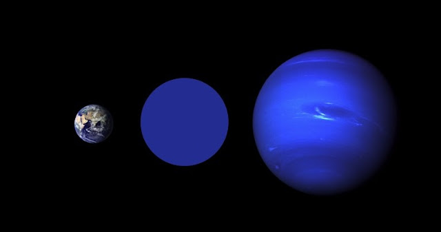 Size comparison of (L-to-R) the Earth, Wolf 503b and Neptune. The color blue for Wolf 503b is imaginary; nothing is yet known about the atmosphere or surface of the planet. Credits:  NASA Goddard/Robert Simmon (Earth), NASA / JPL (Neptune).