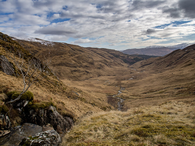 Photo Looking south along Gleann Dubh Lighe over my route from just below the snow line