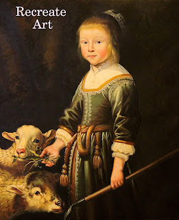 master painting of girl feeding goat, black background