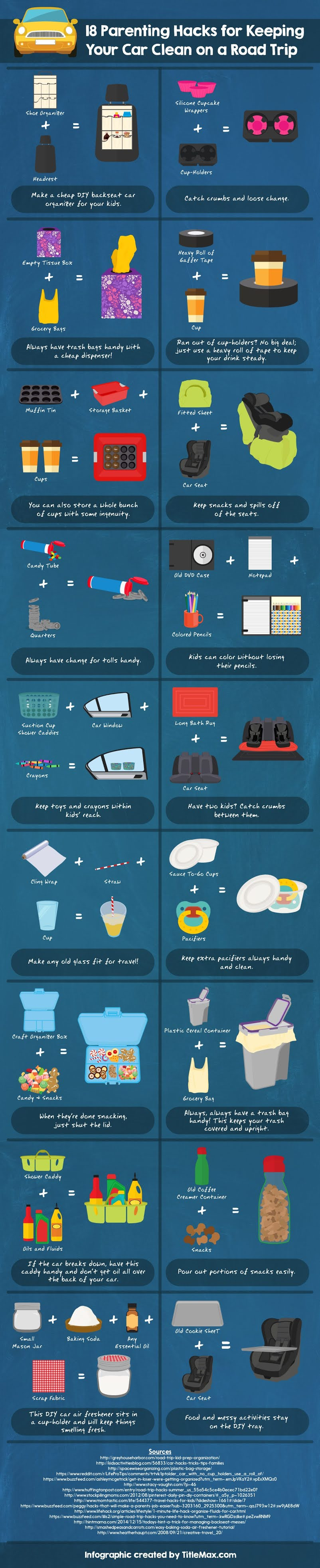 18 Parenting Hacks For Keeping Your Car Clean On A Road Trip #infographic #Parenting Hacks #Car Clean #infographics #Road Trip #Infographic #Car Cleaning