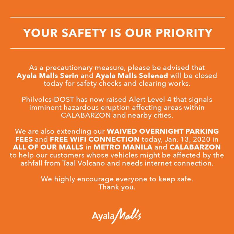 Ayala Malls Seris and Solenad closed today