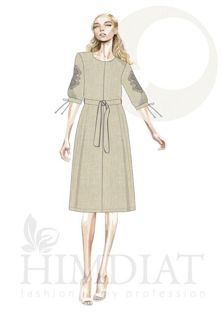 Платье женское. Модель PL-390/Авторская коллекция женской одежды Nadia Himdiat. Платье в этническом стиле из льна с вышивкой.  Сезон: осень-зима