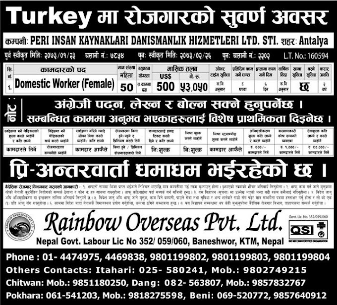 Jobs in Turkey Europe for Nepali, Salary Rs 53,050