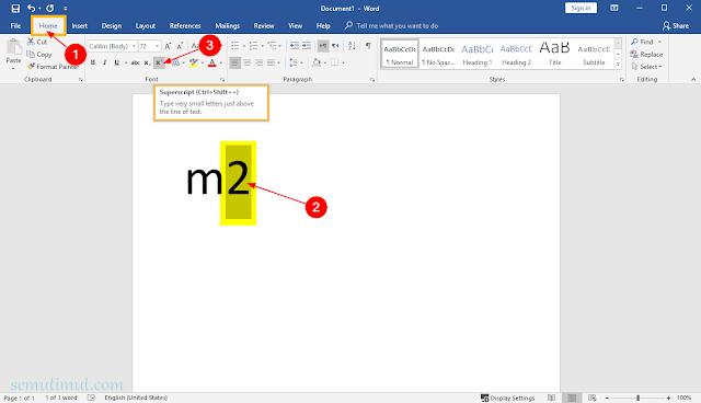 cara membuat pangkat di word mac