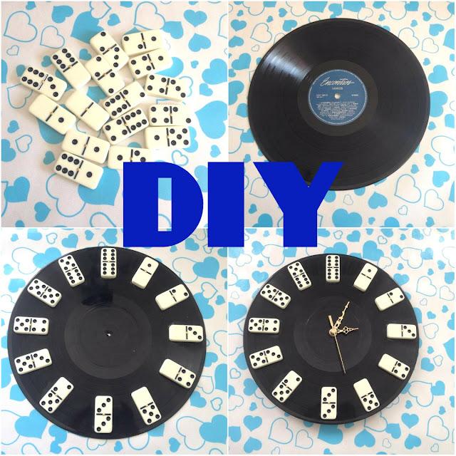 252b1b8375a Lindeza Sem Limite   DIY - Relógio com Disco de Vinil e Dominó ...