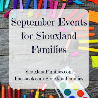 """in background, school supplies. in foreground, the words """"September events for Siouxland Families"""""""