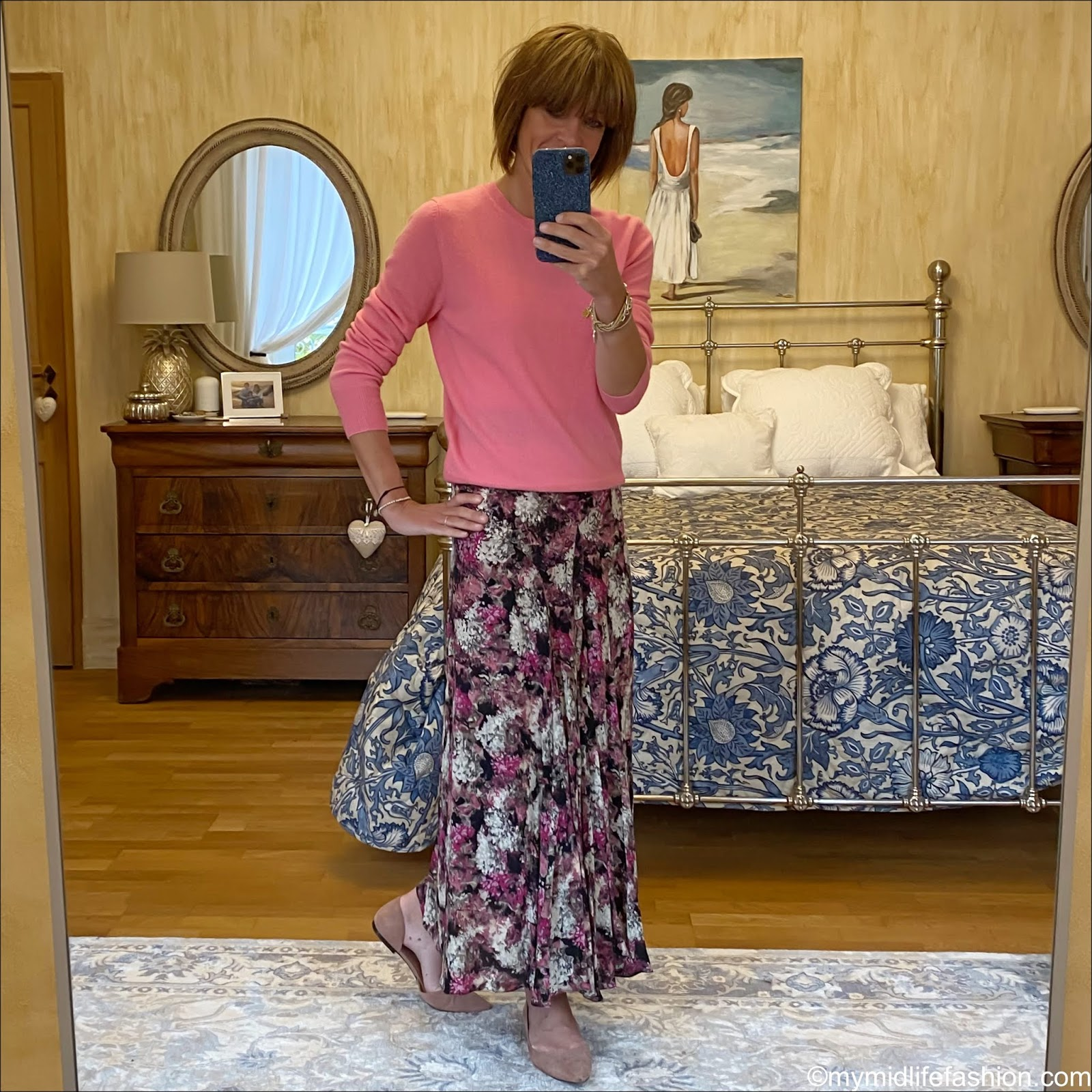 my midlife fashion, marks and Spencer pure cashmere round neck jumper, Raey bias godet ditsy floral print silk midi skirt