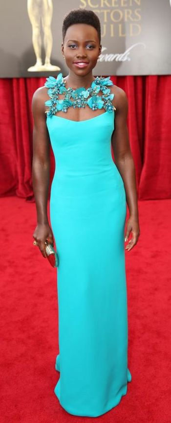 Lupita Nyong'o in a turquoise Gucci gown at the SAG Awards 2014
