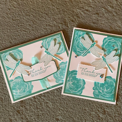 Two versions of Floral and Dragonflies Thank You Card