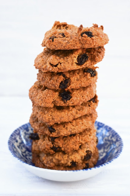 Tall stack of Easy Almond & Raisin Cookies