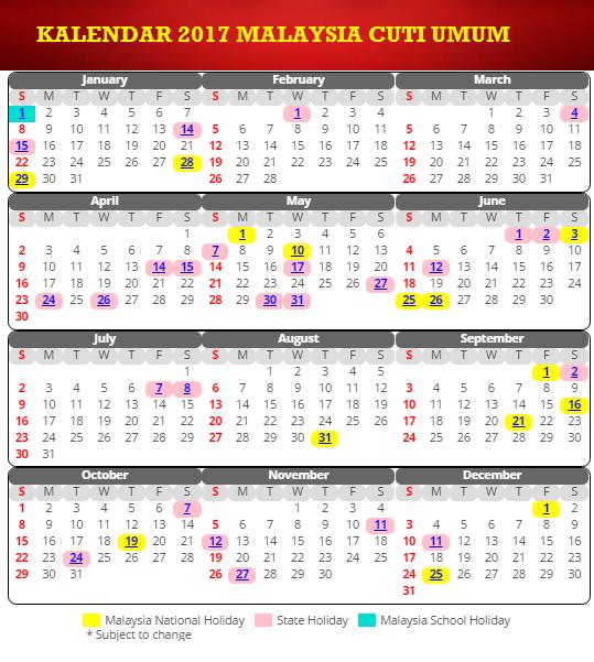 Kalendar 2017 malaysia cuti umum