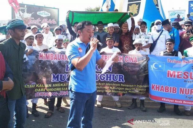 Masyarakat Aceh dan Keturunan Tionghoa Aksi Bela Muslim Uighur