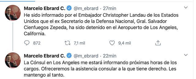 La DEA detiene al ex Secretario de la Defensa Nacional, Gral. Salvador Cienfuegos Zepeda
