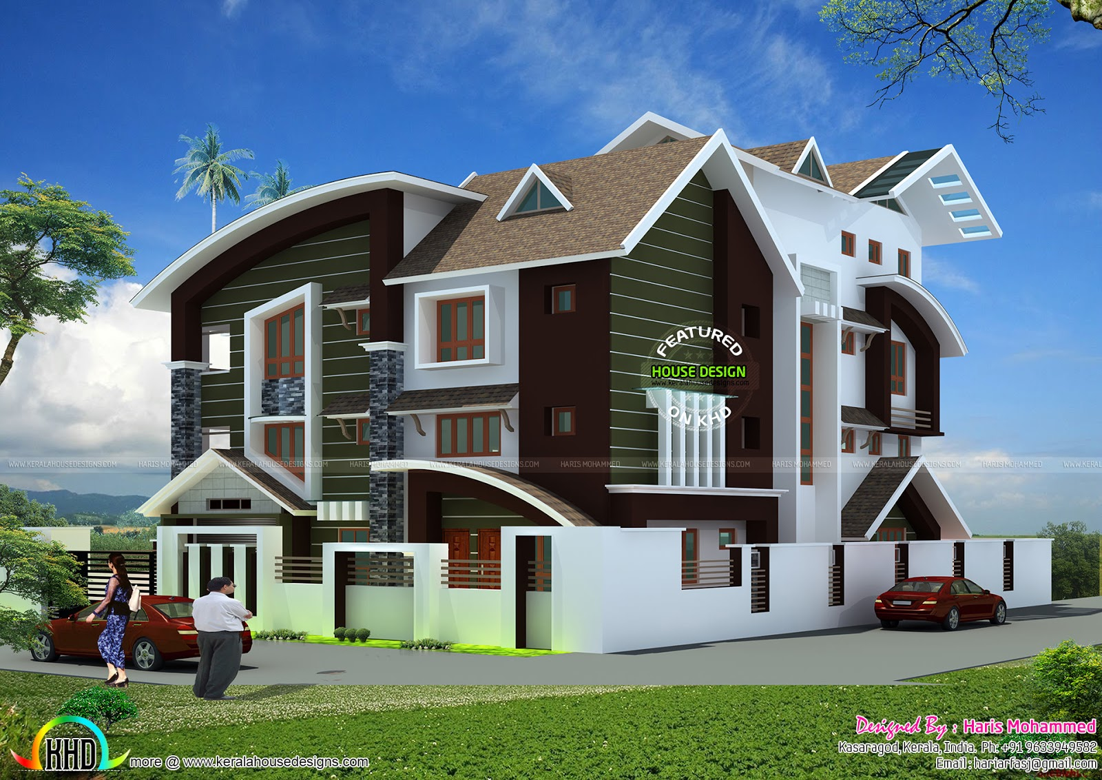 5 bedroom modern mix house in 840 sq m kerala home for Modern house 52