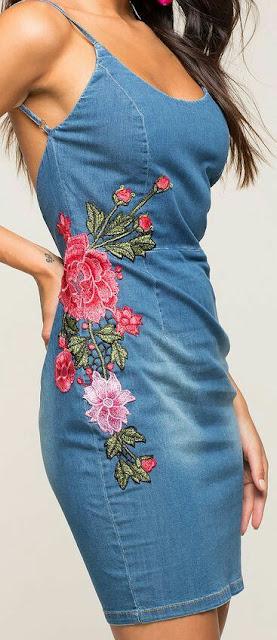 Floral denim bodycon Dress