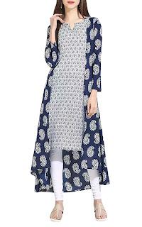 Indigo cotton printed high-low kurta – INR 749
